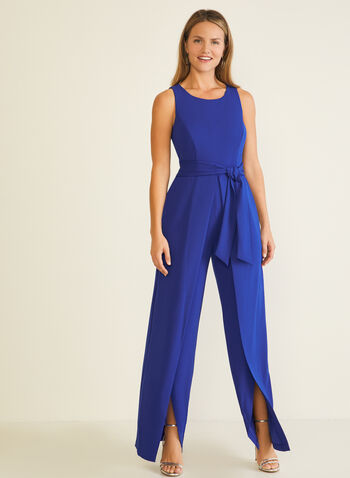 Slit Wide Leg Jumpsuit, Blue,  jumpsuit, wide leg, slit, crepe, tulip, sleeveless, fall winter 2020