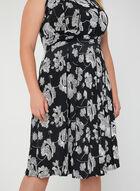 Robe à taille drapée et imprimé floral, Noir, hi-res