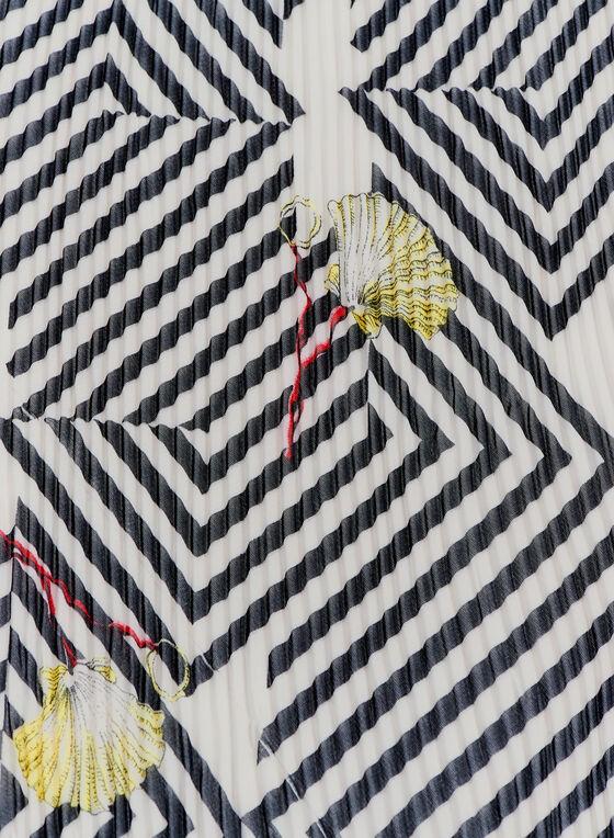 Foulard carré de soie à rayures, Noir, hi-res