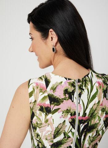 Robe ajustée et évasée fleurie en néoprène, Vert, hi-res