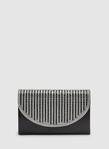 Striped Crystal Clutch , Black, hi-res,  stripe print, crystals, envelope, flapover, fall 2019, winter 2019