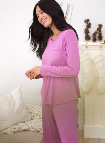 Haut de pyjama à manches longues , Rose,  automne 2021, vêtement de nuit, haut de pyjama, t-shirt, pyjama, col rond, encolure arrondie, manches longues, doux, poche à la poitrine, détail, poche, plus
