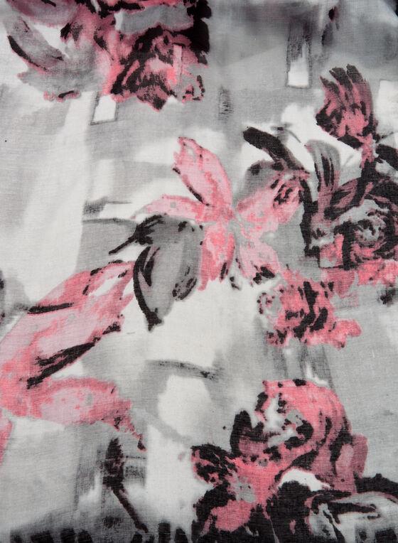 Foulard motif léopard et fleurs à franges, Rose, hi-res