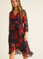 Floral Print Chiffon Dress, Red