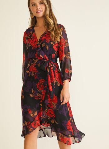 Robe à manches ballon en mousseline fleurie, Rouge,  robe de jour, fleurs, mousseline, col v, volants, automne hiver 2020