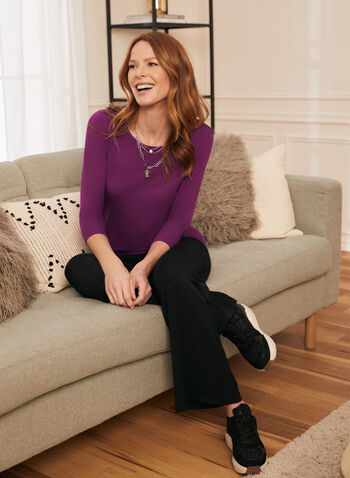 3/4 Sleeve T-Shirt, Purple,