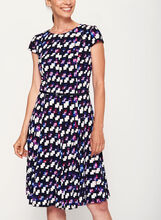 Abstract Print Fit & Flare Dress, Purple, hi-res