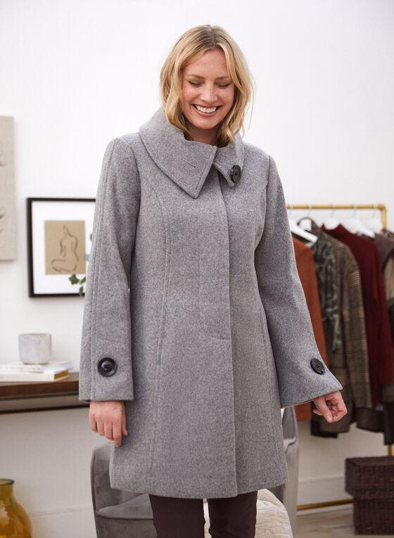 Stretch Faux Wool Coat, Grey