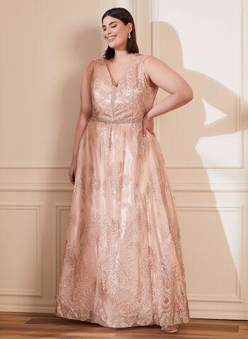 Cachet - Glitter Ball Gown, Pink,  spring summer 2021, sleeveless, back v, plunging neckline, back zipper, tulle