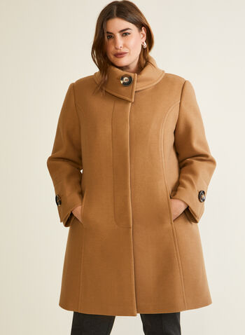 Stretch Faux Wool Button Detail Coat, Brown,  fall winter 2020, coat, wool, stretchy, envelope collar, large button, detail, accent, princess seam, fit, flare, pocket, stretch, warm, winter, long sleeve