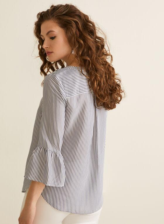 ¾ Sleeve Stripe Print Blouse, White