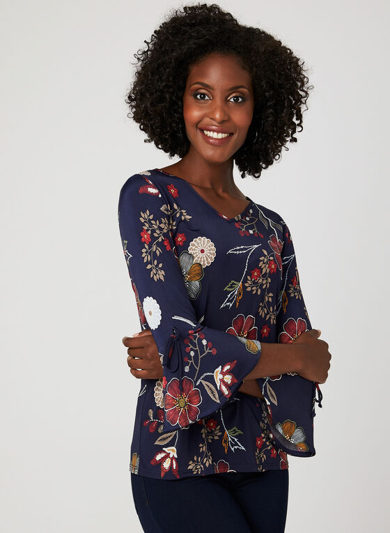 Floral Print Bell Sleeve Blouse, Blue, hi-res