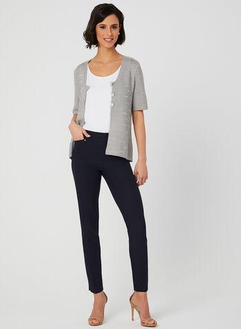 Alison Sheri - Cardigan en tricot à manches courtes, Gris, hi-res