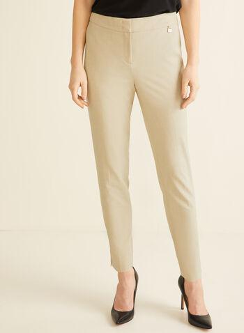 Pantalon coupe cité à jambe étroite , Blanc cassé,  longueur cheville, automne hiver 2019