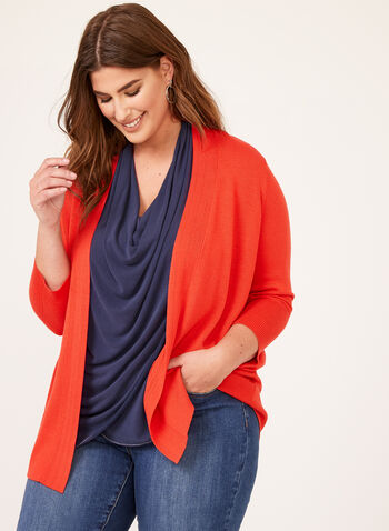 Pointelle Detail Knit Cardigan, Red, hi-res