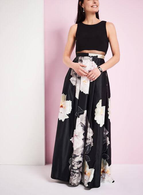 Popover Top & Floral Print Gown, Black, hi-res