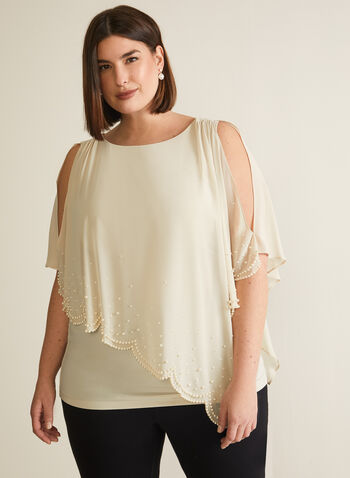 Joseph Ribkoff - Pearl Detail Poncho Blouse, Off White,  blouse, poncho, chiffon, pearls, asymmetric, spring summer 2020