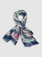 Foulard pashmina à motif abstrait, Bleu, hi-res