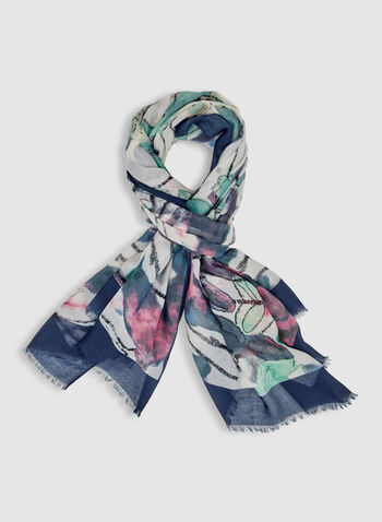 Abstract Print Scarf, Blue, hi-res