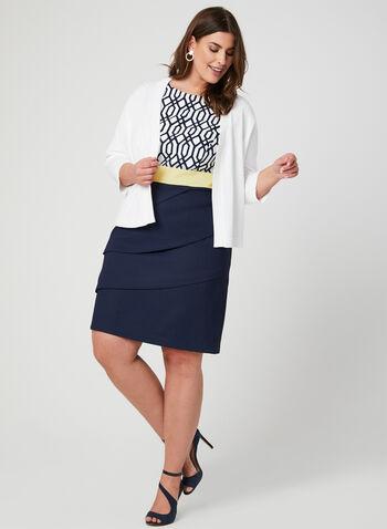 Boléro ouvert en tricot et bordures texturées, Blanc cassé, hi-res,  boléro, ouvert, manches 3/4, printemps 2019