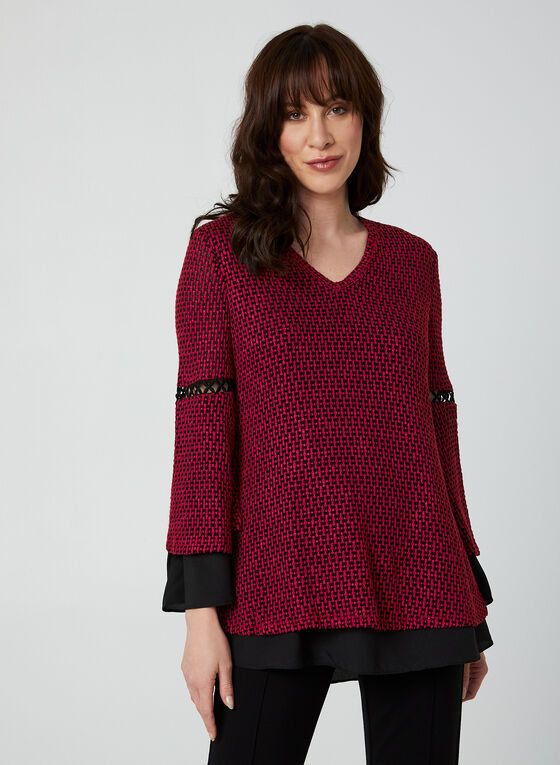 V-Neck Crochet Top, Red, hi-res