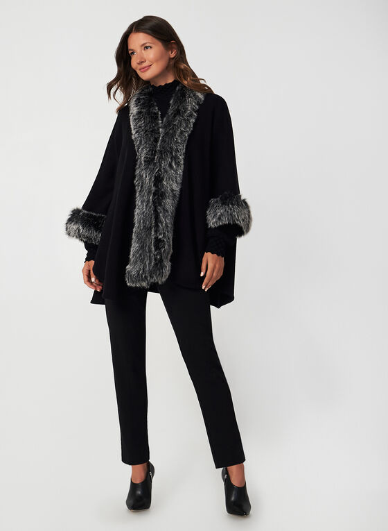 Faux-Fur Trim Shawl, Black