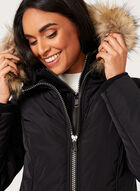 Hooded Faux Down Coat , Black, hi-res