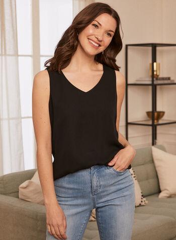 Sleeveless V-Neck Blouse, Black,  blouse, sleeveless, v-neck, crepe, fall winter 2020