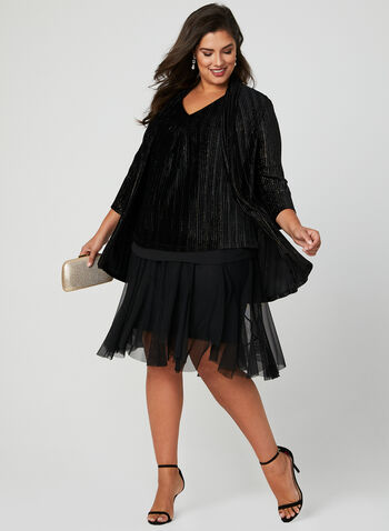 Frank Lyman - Mesh Skirt, Black, hi-res
