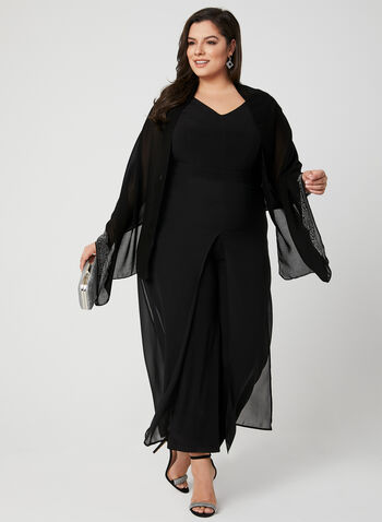 Wide Leg Chiffon Jumpsuit, Black, hi-res,  jersey, sleeveless, V-neck, canada, spring 2019