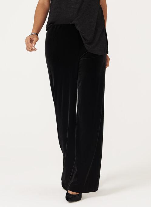 Pantalon pull-on à jambe large et aspect velours, Noir, hi-res