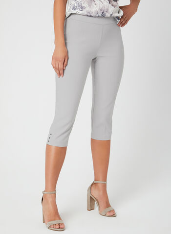 Straight Leg Capris, Grey, hi-res,  Spring 2019, Stretchy fabric, pull-on