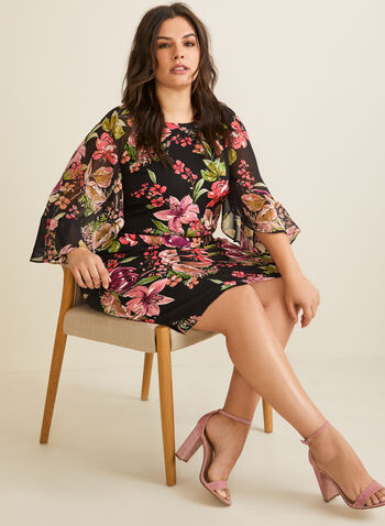 Ruffle Sleeve Floral Dress, Black,  dress, day dress, floral, chiffon, jersey, ruffled, 3/4 sleeves, spring summer 2020