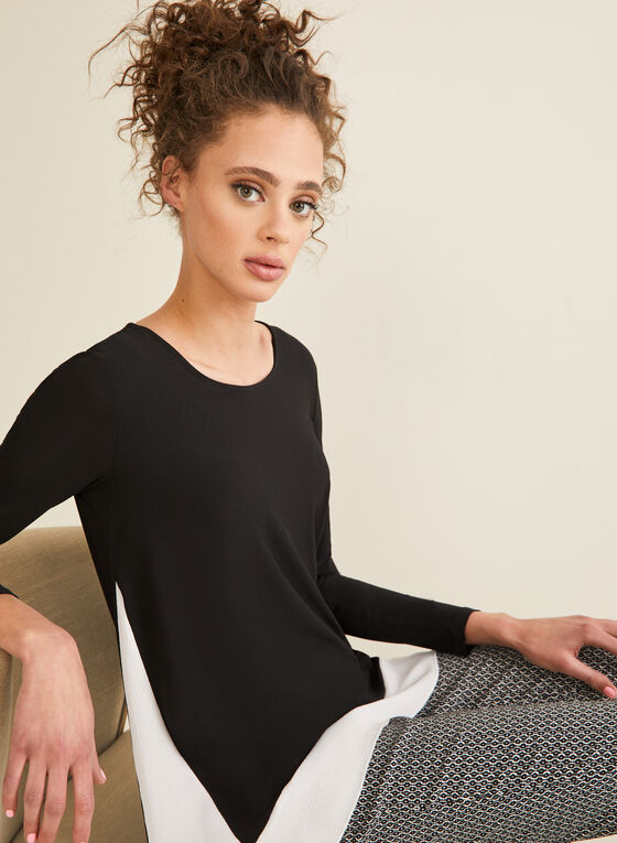 Long Sleeve Contrast Detail Tunic, Black