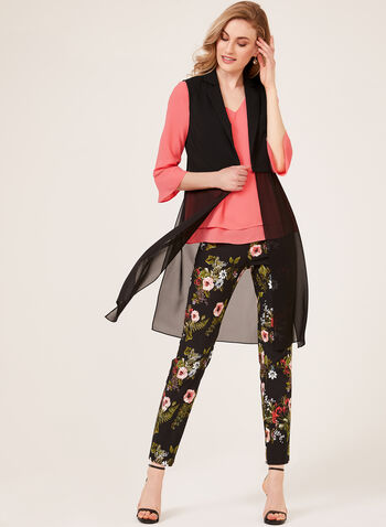Sleeveless Chiffon Panel Crepe Blazer, Black, hi-res