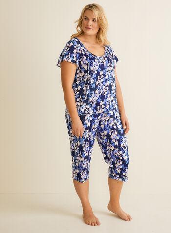Hamilton - Pyjama 2 pièces motif fleurs, Bleu,  t-shirt, manches courtes, jersey, fleurs, capri, col lacé, printemps été 2020