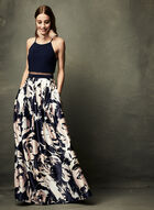 Floral Print Popover Dress , Blue, hi-res