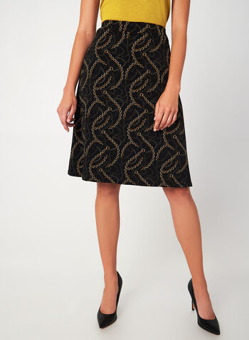 Chain Print A-Line Skirt, Black, hi-res,  canada, skirt, chain print, print, a-line, medium length, midi, flowy, comfortable, pull-on