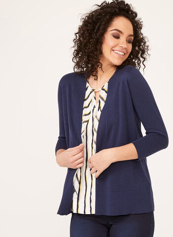 ¾ Sleeve Open Knit Cardigan , Blue, hi-res