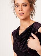Glitter Velvet Cowl Neck Dress , Purple, hi-res