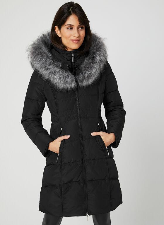 Manteau matelassé à capuchon, Noir, hi-res