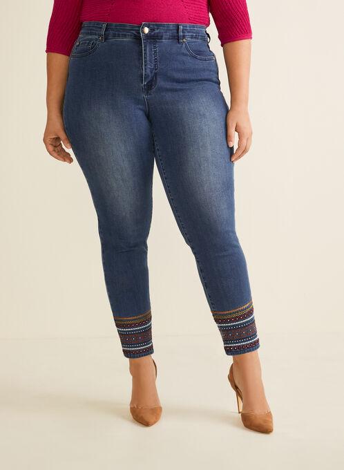 Jeans à ourlet brodé longueur cheville, Bleu
