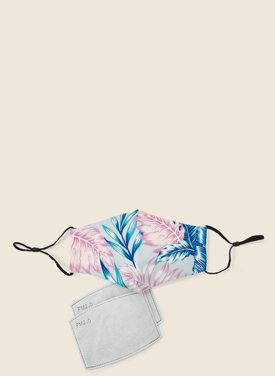 Leaf Print Mask With Filters, Blue