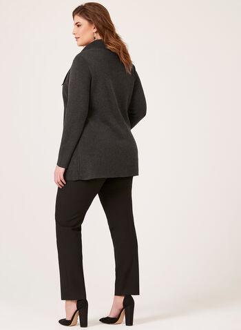 Drape Front Knit Cardigan, Grey, hi-res