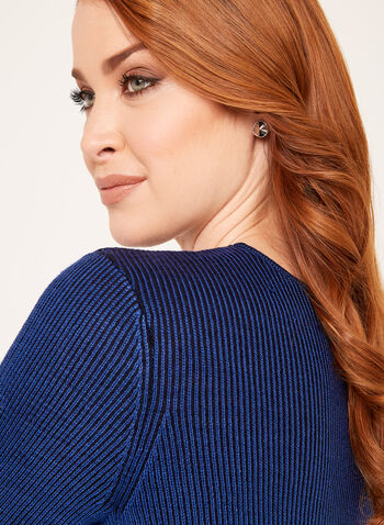 Plaited Rib Knit Sweater, Blue, hi-res