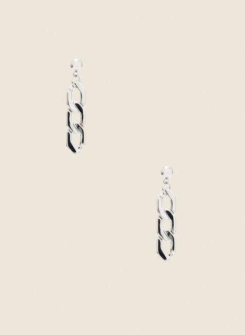Chain Link Dangle Earrings, Silver