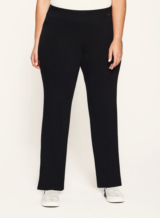 Pull-On Straight Leg Knit Pants, Black, hi-res