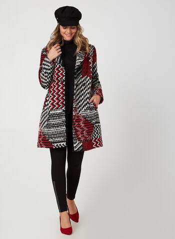 Manteau en tweed motif patchwork, Noir, hi-res,  manteau, tweed, laine, patchwork, épaulettes, poches, col cranté, automne hiver 2019