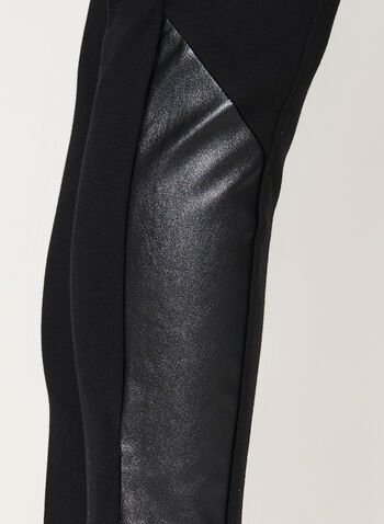 Faux Leather Trim Pull-On Leggings, Black, hi-res