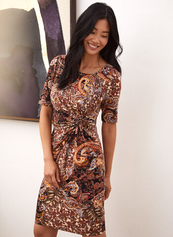 Paisley Print Twist Detail Dress, Brown,  made in Canada, fall winter 2021, dress, day dress, round neck, elbow sleeve, gathered, twist detail, knot detail, fitted, paisley, knee length
